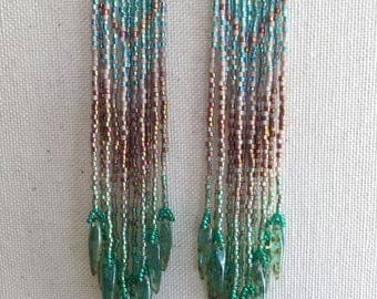 Kelp Bed - Soft Green and Sand Ombre Bohemian Fringe Earrings