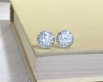Little Sparkling Clear White Druzy Round Circle Stud Earrings with Surgical Steel Posts