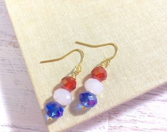 Simply Sparkling Glass Beaded Short Dangle Drop Earrings in Patriotic Red White and Blue for 4th of July Independence Day