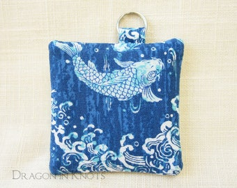 Fish Keychain Pocket - Blue and White Earbud Holder, Guitar Pick Keeper, Asian ocean themed pouch, bubble dots