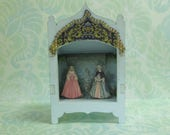 RESERVED for bfcsharon1 - Mini Toy Theater Ladies in Garden - Blue - B