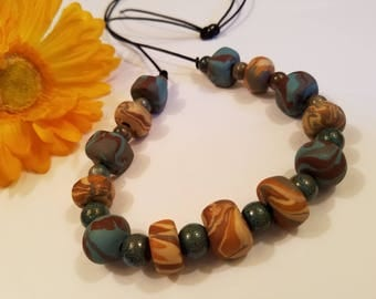 Handmade Polymer Clay Chunky Beads Necklace, Fall Colors Brown Tan Teal, Autumn Jewelry, Big Bold Beads