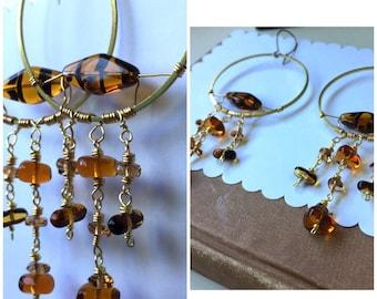 Big Amber Tortoise Glass Hoop Earrings. Brass Chandelier Dangles. Statement Earrings