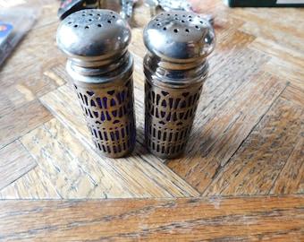 Vintage Godinger Cobalt Blue and Silver Toned Salt and Pepper shakers