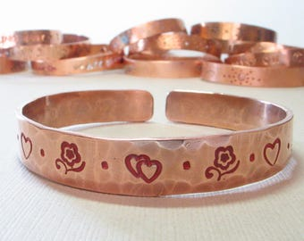 Hand Stamped Painted Hammered Copper Bangle Cuff Bracelet - Red Hearts Flowers - Handpainted Stacking Bracelet - 7th Anniversary Bracelet