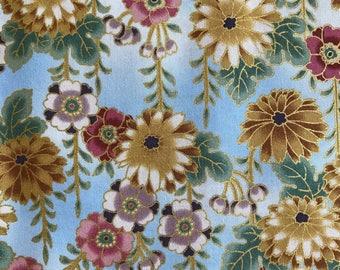 Hanging Flowers Kona Bay Fabric by the yard - 100% Kona Cotton - Peaceful Stream Fujiyama PEAC-03 Blue