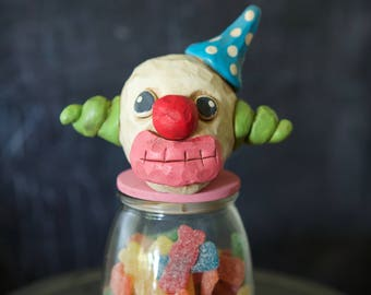 scary clown halloween candy container vintage inspired folk art by trieste prusso decoration decor - Scary Clown Halloween Decorations