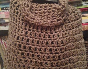 Taupe Chunky Crochet Bennington Capelet Cowl Poncho