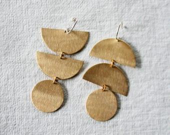 Mismatched Earrings, Statement Earrings, Bold Earrings, Geometric Shape Earrings, Brass, Gold Fill Hooks, CELESTE
