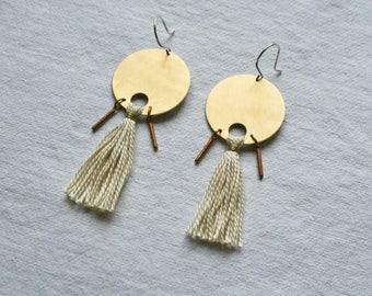 Tassel Earrings, Long Earrings, Circle Earrings, Gift for Her, TASSEL