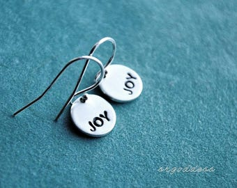 JOY all sterling silver tiny earrings by srgoddess