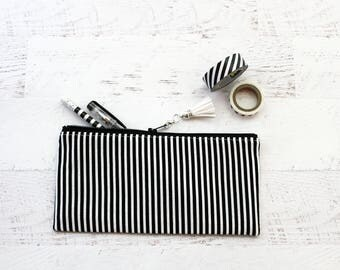 Black and white bag - striped pencil pouch - black pen pouch - gift for writer - school bag - sunglasses bag - gift for best friend - pouch