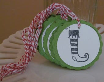 Christmas stocking To / From tags - green - set of 10 - perfect for gift tags, holiday parties, classroom treats, etc.!