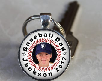 Baseball Dad Customized Pendant, Necklace or Key Chain - Name, Year and Photo - Custom Photo, Sports, Baseball