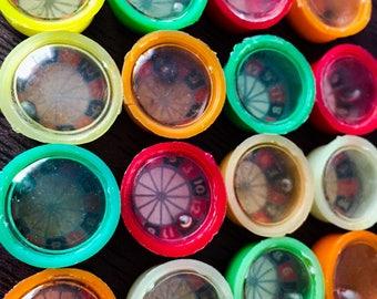 2pcs TINY ROULETTE WHEELS Vintage Plastic Hong Kong