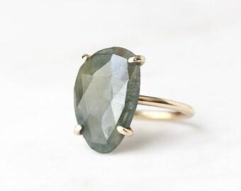 14k gold sapphire ring, rose cut sapphire, green sapphire, eco friendly, handmade