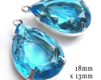 Aqua Blue Sheer Glass Beads - 18x13 Teardrop - Rhinestone Earrings or Pendant Jewels - Light Turquoise Glass Gems - 18mm x 13mm - One Pair