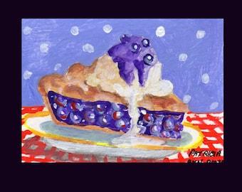 Original ACEO Art - Blueberry Pie Ala Mode by Patricia Ann Rizzo