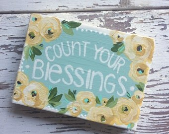 Count Your Blessings, wood sign