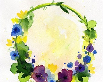 "ON SALE Purple Yellow Blue flower Wreath watercolor original painting art 8""x8"""