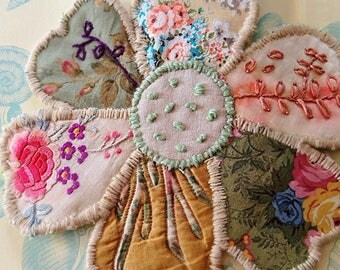 Large Patchwork Flower Kit, Hand Sewing, Beautiful Textiles, Vintage, Embroidery,  Rustic, Boho, AllThingsPretty