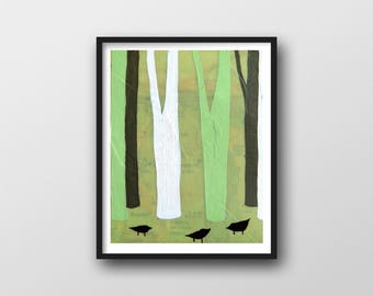 Forest Print with Trees and Modern Bird Art // 11x14 Map Print by Rachel Ann Austin