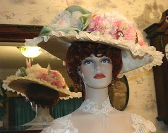 Edwardian Hat Ascot Hat Kentucky Derby Hat Tea Hat Titanic Hat Somewhere in Time Hat Downton Abbey Hat - Miss Spring Song - Includes Hat Pin
