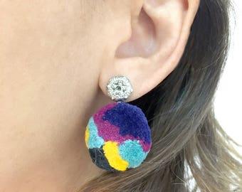 PomPom mandala Earrings- Blue Green Purple and yellow