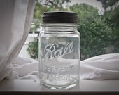 Antique Embossed Ball Jar Complete with Working Zinc Lid c1900s