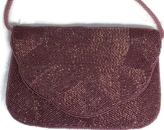 Vintage Beaded Purse - Purple Pink Mauve Crossbody, Corded Strap, Pocketed Interior, Cell Phone Holder, Evening Bag, 1980s, Prom Purse