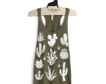 S,M,L,XL- Olive Tri-Blend Teal Racerback Tank with Cactus Screen Print