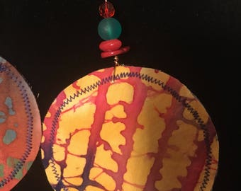Fabric Disc african Wax Print Earrings