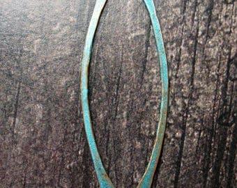 "Aqua Chestnut Copper Double Hole Bars - 16g - 2.25"" in length - 1 Pair"