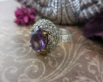 Amethyst gemstone and cz sterling silver ring - size 8
