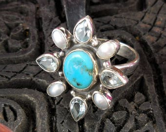 Turquoise, pearl, and blue topaz sterling silver ring - size 7.5