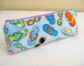 Long Pencil Case, Zippered Pouch, Sunglasses and Flip Flops Cotton Fabric, lavender zip