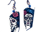 Sugar Skull Girls- hand-painted Day of the Dead charm earrings