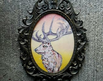 Elk painting on wood with curved glass and oxidized brass filigree frame - the GUARDIAN - animal painting