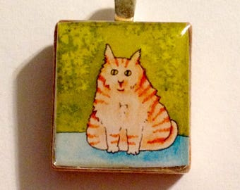 Orange Cat Art Scrabble Tile Pendant