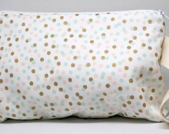 White With Pastel And Gold Dots Medium Project Or Cosmetic Bag