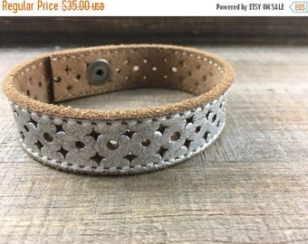 CRAZY SALE- Custom Leather Cuff-Create Your Own-Tooled Silver Leather-Word Cuff