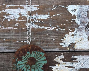 40% OFF- Boho Leather Necklace-Dandelion-Hand Painted Leather
