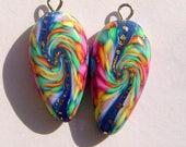 Cosmos Dagger Style Charm Handmade Artisan Polymer Clay Beads Pair