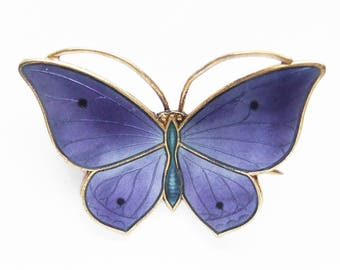 RESERVED FOR lsternau Vintage Marius Hammer Norway Purple Enamel Butterfly Brooch Pin Sterling Silver Gilt