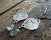 RESERVED for Tasha Muse Earrings - Oxidized fine and sterling silver. Moss Aquamarine. Handmade dangle earrings