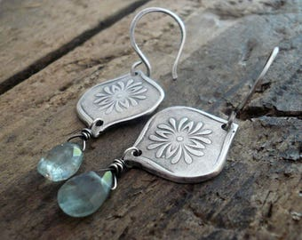 NEW Muse Earrings - Oxidized fine and sterling silver. Moss Aquamarine. Handmade dangle earrings