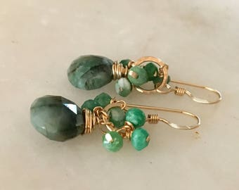Emerald Earrings, Emerald Gold Earrings, Emerald Cluster Earrings, Gold Circle Earrings, Gemstone Earrings, Cluster Earrings
