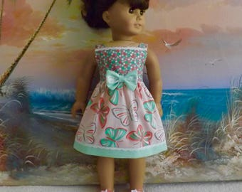 "18"" Doll Clothes Fits like American Girl Butterfly Medley in Pastel Coral and Mint Green Sundress"