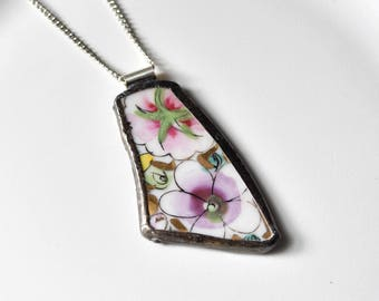 Broken China Jewelry Pendant - Purple and Pink Floral
