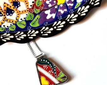 SUMMER SALE Broken China Jewelry Pendant - Colorful Turkish China